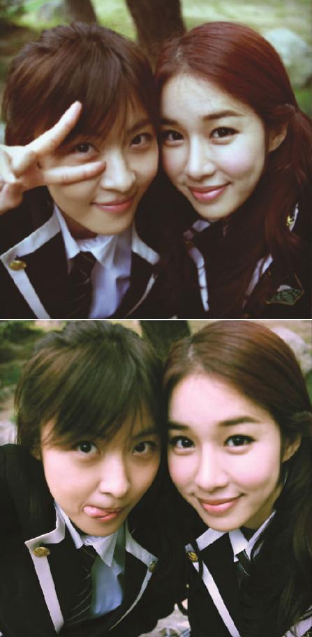SBS週末ドラマ「シークレットガーデン」に出演しているハ・ジウォン(写真左)とユ・インナ。