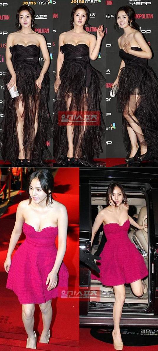 授賞式に到着したナム・ギュリ(上)とミン・ヒョリン(下)がきわどいドレスを着てレッドカーペットを歩いている。