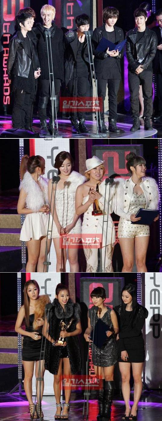 9日、ゴールデンディスク新人賞を受賞したビースト(上段)とシークレット(中段)、シスター(下段)。