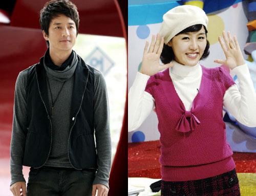 結婚を前提につきあっているとされる俳優のチョン・ジュノ(41、左)とMBCアナウンサーのイ・ハジョンさん(32)。