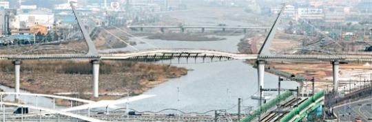 歩行者専用橋では国内最長の梁山市の歩道橋