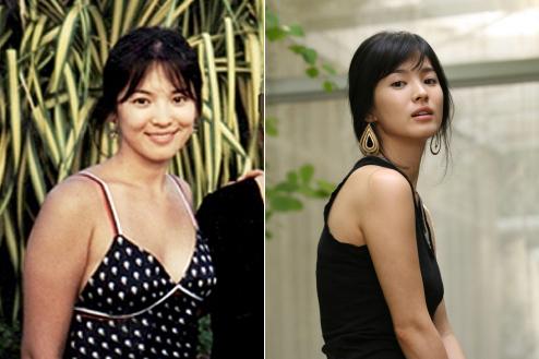 過去の写真(左)が公開され、注目を集めている女優ソン・へギョ。