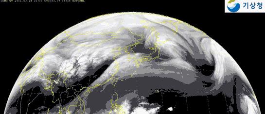 韓国の千里眼衛星が「日本放射能」追跡を示す映像を撮影した。(写真:気象庁提供)