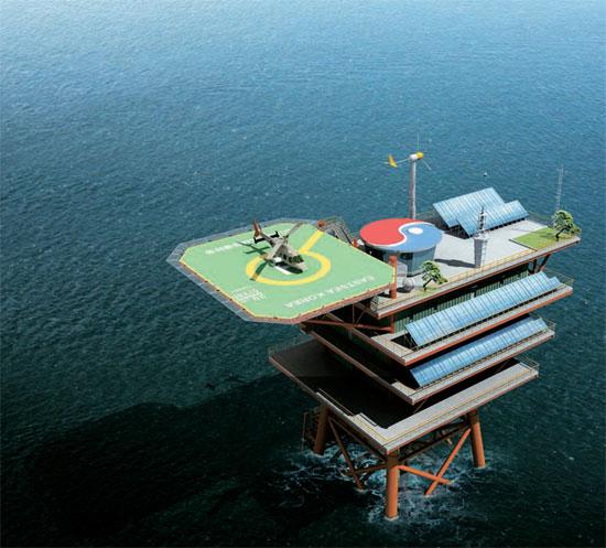 独島(ドクト、日本名・竹島)に建設予定の海洋科学基地構造物の鳥瞰図(写真=韓国海洋研究院提供)。
