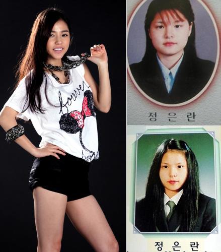 学生時代の卒業写真(右)が公開された女優ミン・ヒョリン(写真=ポータルサイト掲示板)。
