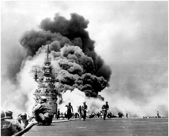 ハワイの真珠湾攻撃の様子。