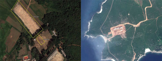 平安南道甑山郡(左)と黄海南道康リョン郡(写真=RFA)。