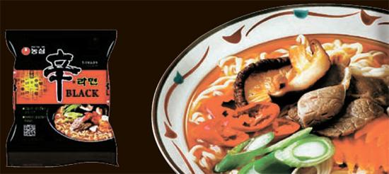 インスタントラーメンブランドの農心(ノンシム)から海外市場向けに開発されたプレミアム商品「辛ラーメンブラック」。