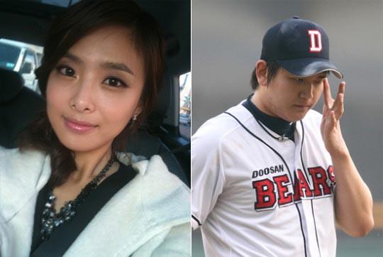 自殺したアナウンサーのソン・ジソンさん(左)とプロ野球団選手イム・テフン(斗山ベアーズ)。