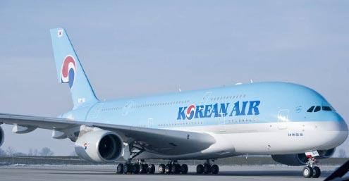 17日に仁川-成田路線に初投入される大韓航空のA380型機。