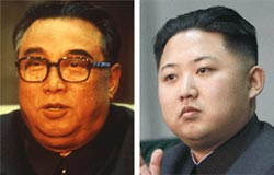 金日成(左)と金正恩。