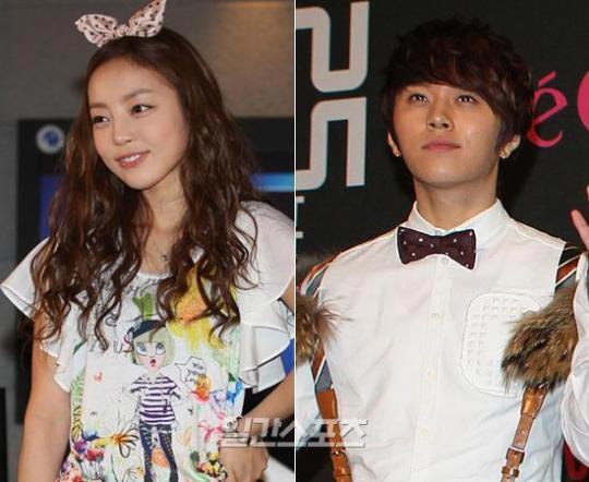 熱愛が報じられたKARAのク・ハラ(左)とBEASTのヨン・ジュンヒョン。