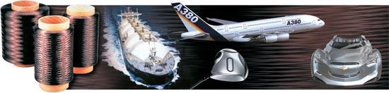 写真=東レが亀尾で生産する炭素繊維はこのように使われる。左からLNG運搬船の貯蔵タンク、ゴルフクラブ、航空機の胴体と翼、未来軽量化自動車のボディ。