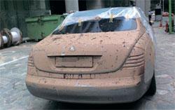先月のソウル地域の集中豪雨で浸水した最高級輸入車マイバッハ。[写真=ダウムアゴラのキャプチャー]