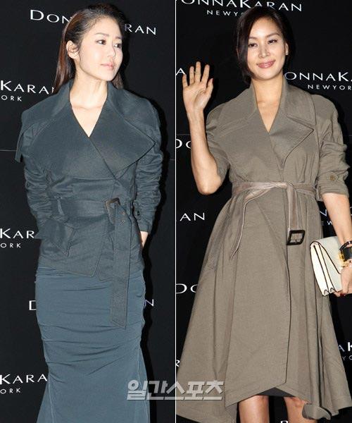 6日午後、ソウル清潭洞(チョンダムドン)で行われたファッションブランド「ダナキャラン」の旗艦店オープンイベントに登場した女優のコ・ヒョンジョン(左)とコ・ソヨン。