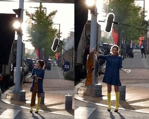 ドラマを撮影中の女優キム・テヒ(写真=オンラインコミュニティー掲示板)。