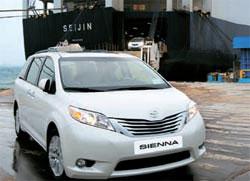 韓国トヨタは1日、京幾道平沢(キョンギド・ピョンテク)国際自動車埠頭を通して、米インディアナ工場で生産したミニバン「シエナ」を輸入した。