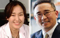 韓国生命工学研究院のキム・ミョンヒ博士(左)と米南カリフォルニア大学のチョン・ジェウン教授チーム。