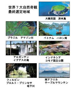「世界7大自然奇観」最終選定地域(資料=「ニューセブンワンダーズ(New 7 Wonders)」財団)。