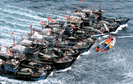 16日午後、韓国側排他的経済水域(EEZ)で違法操業中だった中国漁船11隻が互いにロープで縛った状態で逃走している。