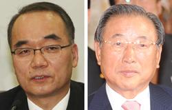 朴宰完(パク・ジェワン)企画財政部長官(左)と韓日経済協会の趙錫來(チョ・ソクレ)会長。