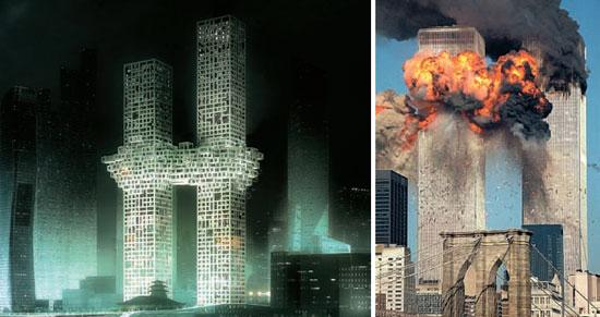 ソウル・竜山(ヨンサン)国際業務地区に建設される住商複合ツインビル(左)と、2001年の9・11米同時多発テロで崩れる時の世界貿易センター。