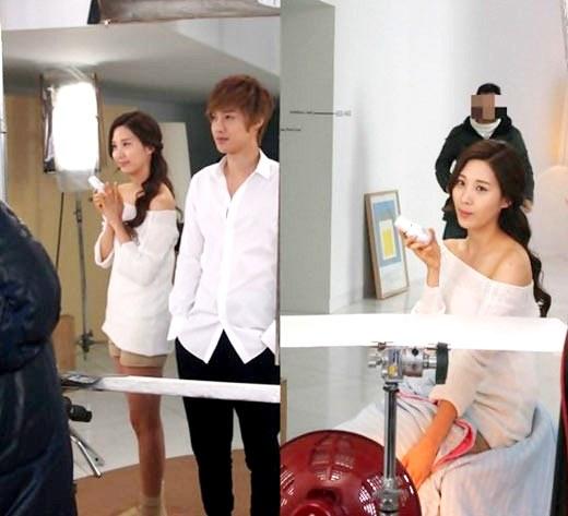 (左の写真)少女時代のソヒョン(左)とキム・ヒョンジュン、(右の写真)ソヒョン(写真=ビューティーブログ)。