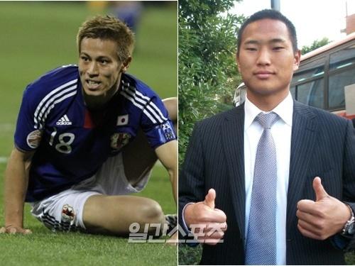本田圭佑(26、左)と鄭大世(チョン・テセ、28)。