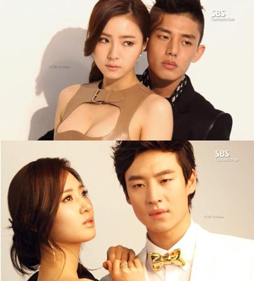 SBS(ソウル放送)のドラマ「ファッション王」ニ出演しているシン・セギョン(左上)とユ・アイン、少女時代のユリ(左下)とイ・ジェフン(写真=ポータルサイト掲示板)。