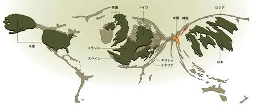 国の総負債に合わせて描いた世界の地図(カルトグラム)。