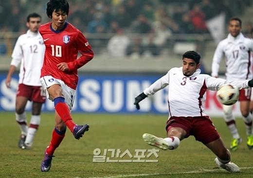 14日、ソウルワールドカップ(W杯)競技場で行われた2012ロンドン五輪アジア最終予選最終戦の韓国-カタール戦の様子。