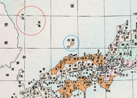 1892年に日本で制作された「大日本国全図」の一部。島根県付近の隠岐島(青丸の中)を含めて茶色など色を付けて日本領土を表示しているが、鬱陵島(ウルルンド)と独島(ドクト、日本名・竹島)には色がない(写真=東北アジア歴史財団)。