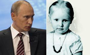 プーチン首相、幼い頃のカテリーナさんの姿(右)=(写真:『プーチン自叙伝』)。