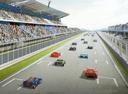 来年4月に江原道麟蹄(カンウォンド・インジェ)に完工する国際カーレース場「麟蹄オートピア」の鳥瞰図。