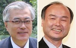 民主統合党の文在寅(ムン・ジェイン)常任顧問(左)と孫正義ソフトバンク会長。