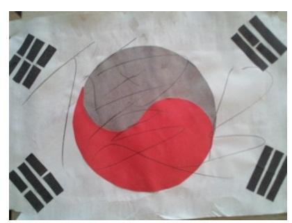 落書きされた太極旗(写真=ネイト・パンのキャプチャー)。