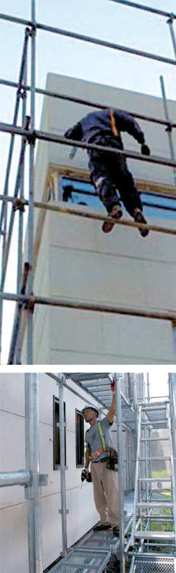 在来式の足場の上で綱渡りをするように危険な作業をする労働者(上)。システム足場が設置された京畿道安養(キョンギド・アンヤン)地域の住宅建設現場労働者の余裕ある姿(下)と対照的だ(写真=安全保健公団)。