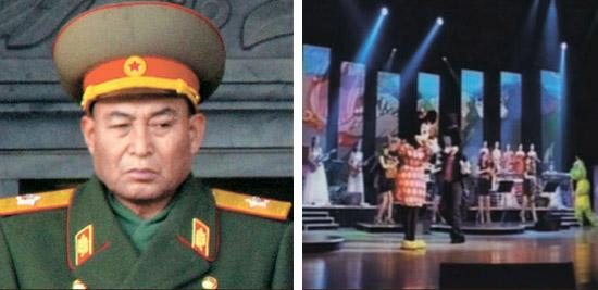 15日に失脚した北朝鮮の李英鎬(リ・ヨンホ)軍総参謀長(写真左)と11日にテレビで放送された牡丹峰(モランボン)楽団のミッキーマウスのダンス(右)。北朝鮮の変化を予告するような対照的な写真だ。