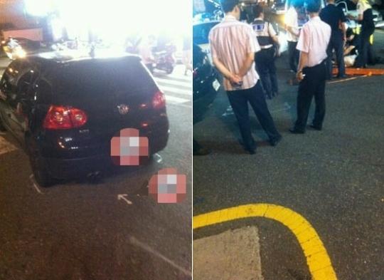 グループ2PM(ツーピーエム)メンバー、ニックンの飲酒運転事故現場の様子。