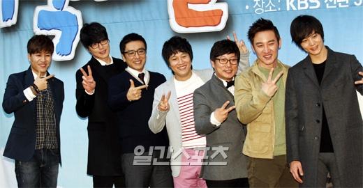 「1泊2日」の出演陣(左からキム・ジョンミン、ソン・シギョン、キム・スンウ、チャ・テヒョン、イ・スグン、オム・テウン、チュウォン)。