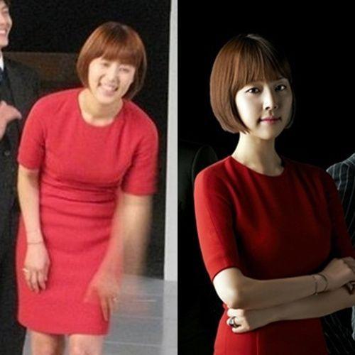 8月に放送予定のMBC(文化放送)ドラマ『メイクイーン』に出演する女優のハン・ジヘ(左は撮影現場ので撮られたもの、写真=ポータルサイト掲示板)。