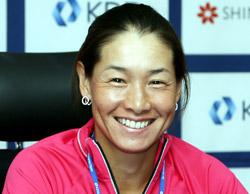 テニスのクルム伊達公子選手(42)。