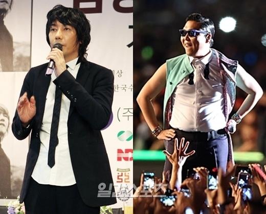 歌手のキム・ジャンフン(左)とPSY(サイ)。