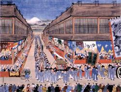 朝鮮通信使一行を歓迎する江戸の市民。1748年の絵(写真=神戸市立博物館所蔵)。