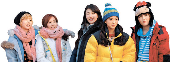 KBS(韓国放送公社)「青春不敗2」出演陣。左側からサニー、キム・イェウォン、スジ、ボラ、ジヨン。