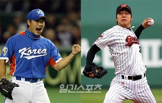 WBC韓国代表エントリーで、奉重根(ボン・ジュングン、左)に変わってメンバーに含められた張元準(チャン・ウォンジュン)。