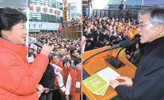 朴槿恵(パク・クネ)セヌリ党候補(写真左)、文在寅(ムン・ジェイン)民主統合党候補。