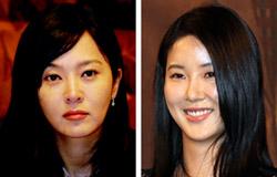 女優のイ・スンヨン氏(左)とチャン・ミインネ氏。