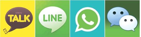 左から韓国の「カカオトーク」と「LINE」、米国の「WhatsApp」中国の「WeChat」。