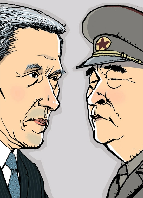 韓国国防部の金寛鎮(キム・グァンジン)長官(左)と金格植(キム・ギョクシク)北朝鮮人民武力部長。